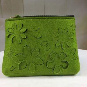 Bags - Green Felt Cutout Makeup Bag